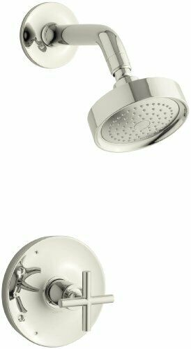 KOHLER K-TS14422-3-SN Purist Cross handle Shower trim Polished Nickel