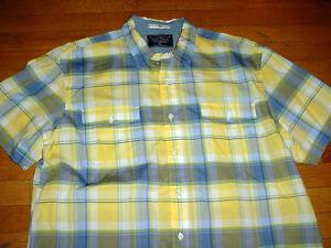 Nautica Mens Short Sleeve Plaid Shirt Yellow Blue Pockets