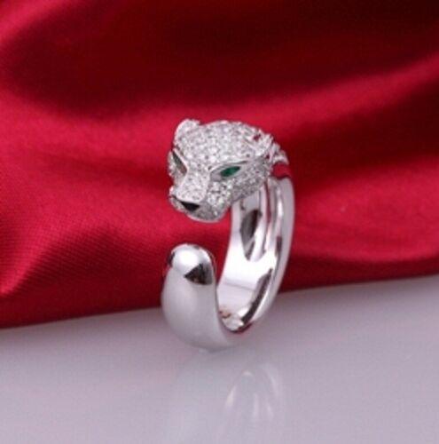 2.00 CT Diamante Esmeralda Corte De Pera 14k Oro Blanco Anillo sobre Panthere diseñado