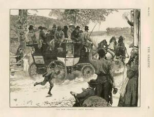 1873 - Antique Print FINE ART Old Coaching Days Revived Horse Carriage  (009)