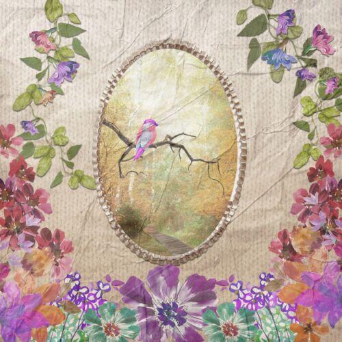 4 single paper decoupage napkins. Birds, vintage, romance, flowers - 573