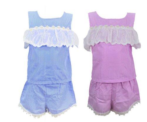 Bambine Bambini Rosa e Blu Corto Abiti Set Pizzo Top Set 2 pezzi dai 4 ai 14 anni