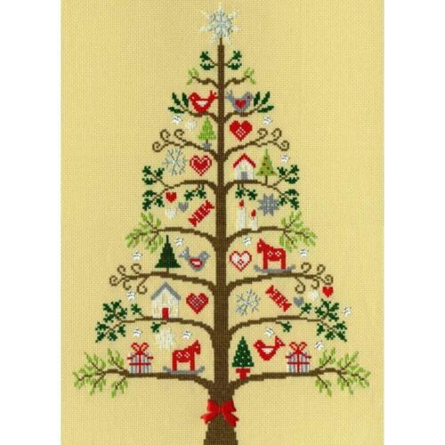 Bothy Threads contati Punto Croce Kit-Scandi Tree-PERGAMENA 14 Count Aida
