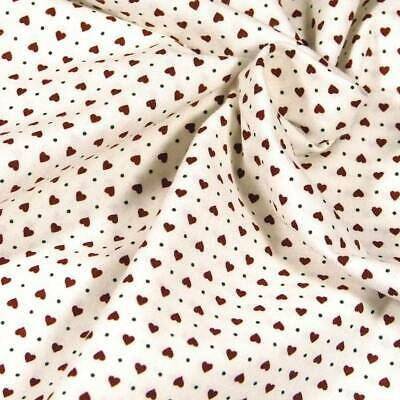 Calico Cotton Fabric Teeny Tiny Red /& Black Flowers on White Per 1//2 Yd