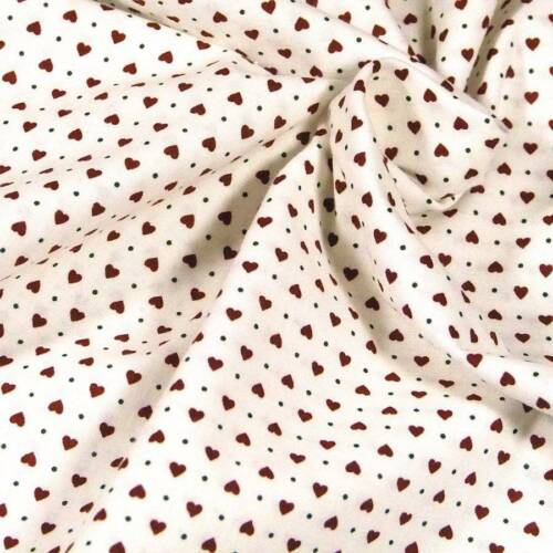 Cotton Fabric Per 1//2 Yd Perfect Teeny Tiny Hearts in Red on White