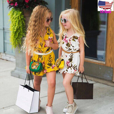 Children Kids Baby Girl Summer Beach Floral Romper Jumpsuit Tops Sunsuit Outfit
