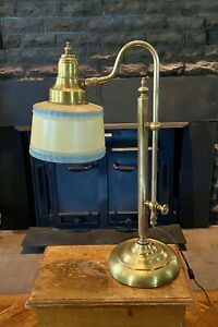 1940s-Solid-Brass-Pharmacy-Gooseneck-Reading-Piano-Student-Glass-Blue-Lamp-Shade