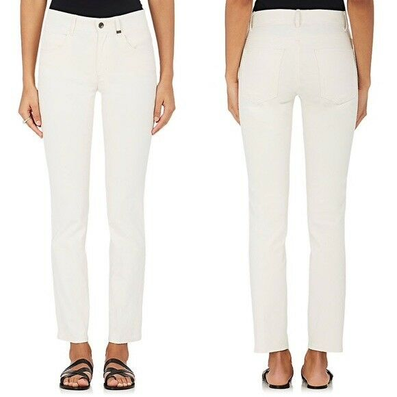NWT HELMUT LANG sz 0 Creased Stretch Canvas Mid Rise Skinny Jeans Ivory