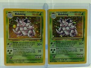 Lot of 2 Nidoking Rare HOLO 11/130 Base Set 2 Pokemon Card WOTC Unlimited MINT