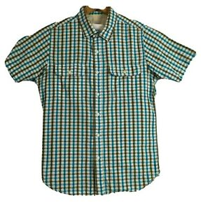 FAT-FACE-Homme-Large-Bleu-Blanc-a-Carreaux-a-Manches-Courtes-Chemise-Decontractee-amp-Double-Poches