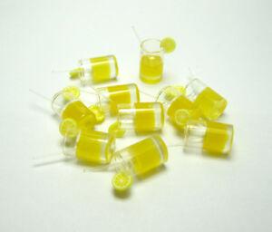 10-Dolls-House-Miniature-1-12-Orange-Juice-Lemon-Water-Cup-Drink-Glass-Accessory