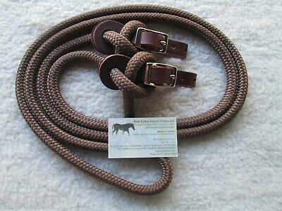 """Sport Boucle Yacht mecate reins 10/' X 1//2/"""" W Poppers pour Slobber Straps Brown//Tan"""