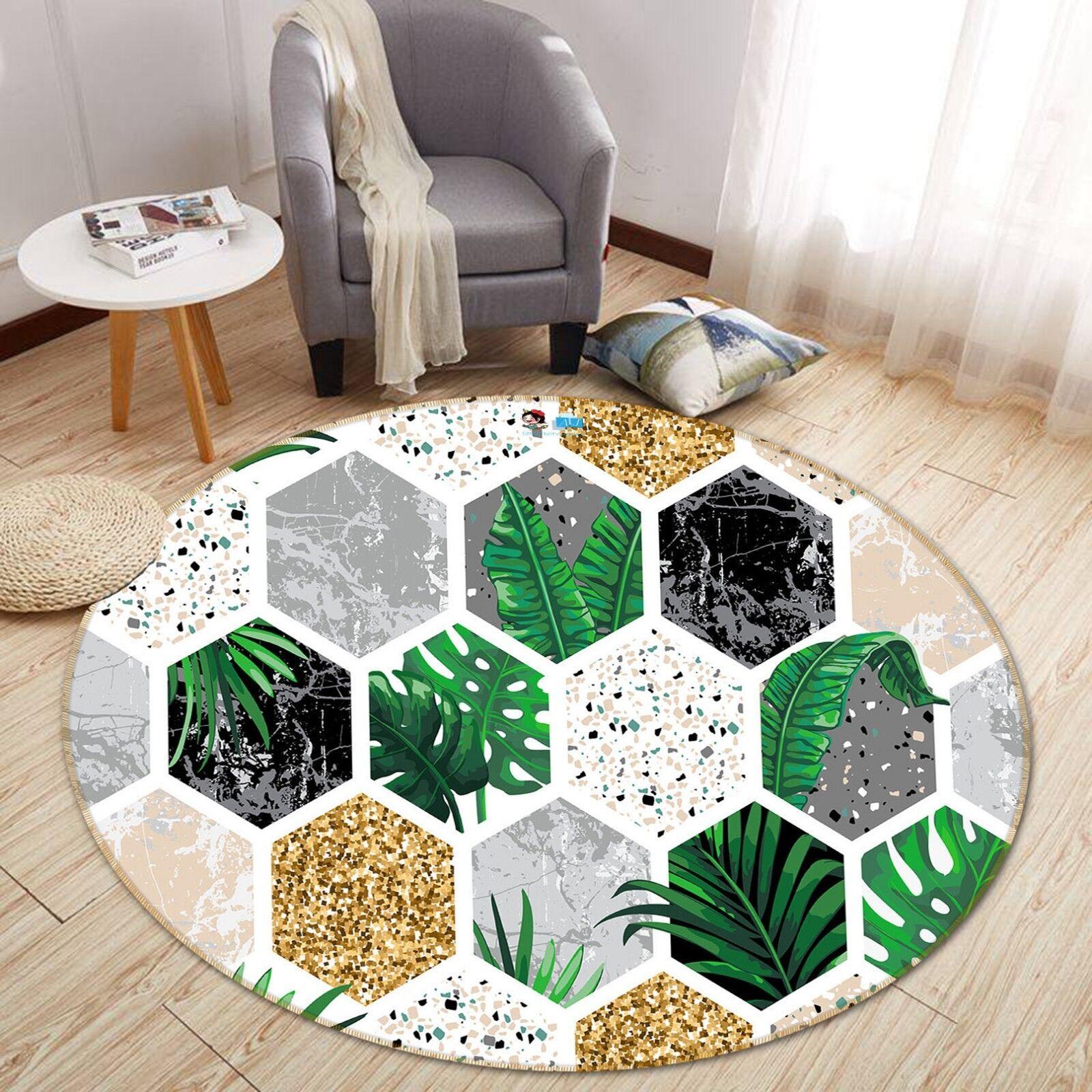 3D pianta verde marmo 5 antiscivolo tappeto camera Tappetino Tondo Qualità Elegante Tappeto foto