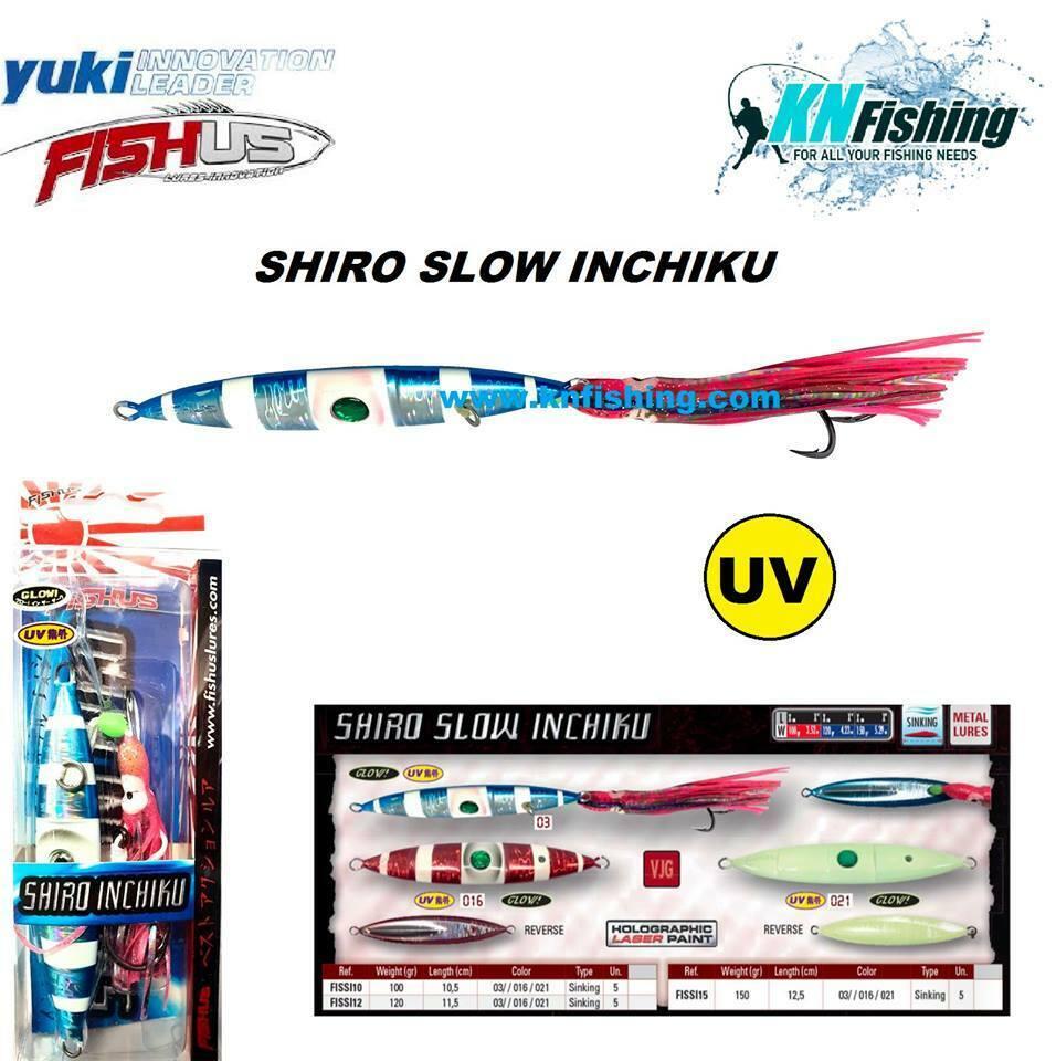Fishus Shiro Slow Inchiku 150 gramos Blue Pink y Glow para la pesca de Slow Pitch e Inchiku
