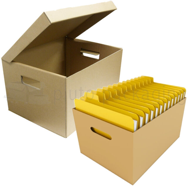 10 x FILING ARCHIVE/PAPER A4 STORAGE BOXES + CARRY HANDLE A GRADE BOXES STRONG  sc 1 st  eBay & 10 X Strong A4 Filing Archive Storage Removal Cardboard Boxes With ...
