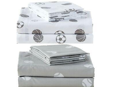 Chezmoi Collection 4-Piece Kids//Teens Sports Sheet Set Soft Microfiber Gray White Baseball Full Size