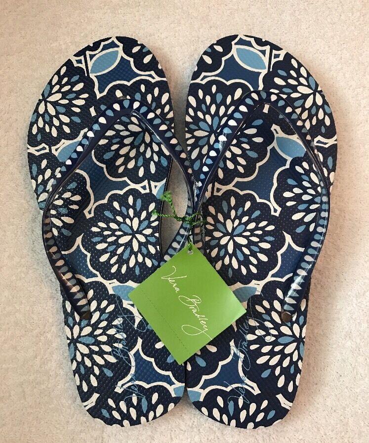 NWT New Flops Vera Bradley Petal Splash Blue Floral Flip Flops New Size M (7-8) ca6214