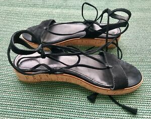 4fa2a07b9e FRYE Miranda Gladiator Platform Sandal Suede Black 7.5 Worn Once | eBay