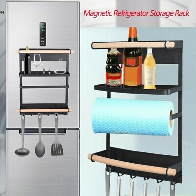 Magnetic Kitchen Refrigerator Storage Rack Heavy Duty Fridge Rack Organizer Bk