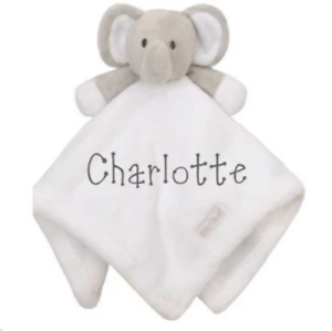 Personalised Embroidered Baby Soft White Elephant Comforter Gift Blanket Toy