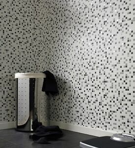 Nice Image Is Loading White Amp Black Mosaic Tile Effect Wallpaper Embossed