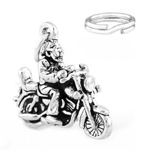 """STERLING SILVER /""""MOTORCYCLE RIDER/"""" CHARM WITH ONE SPLIT RING"""