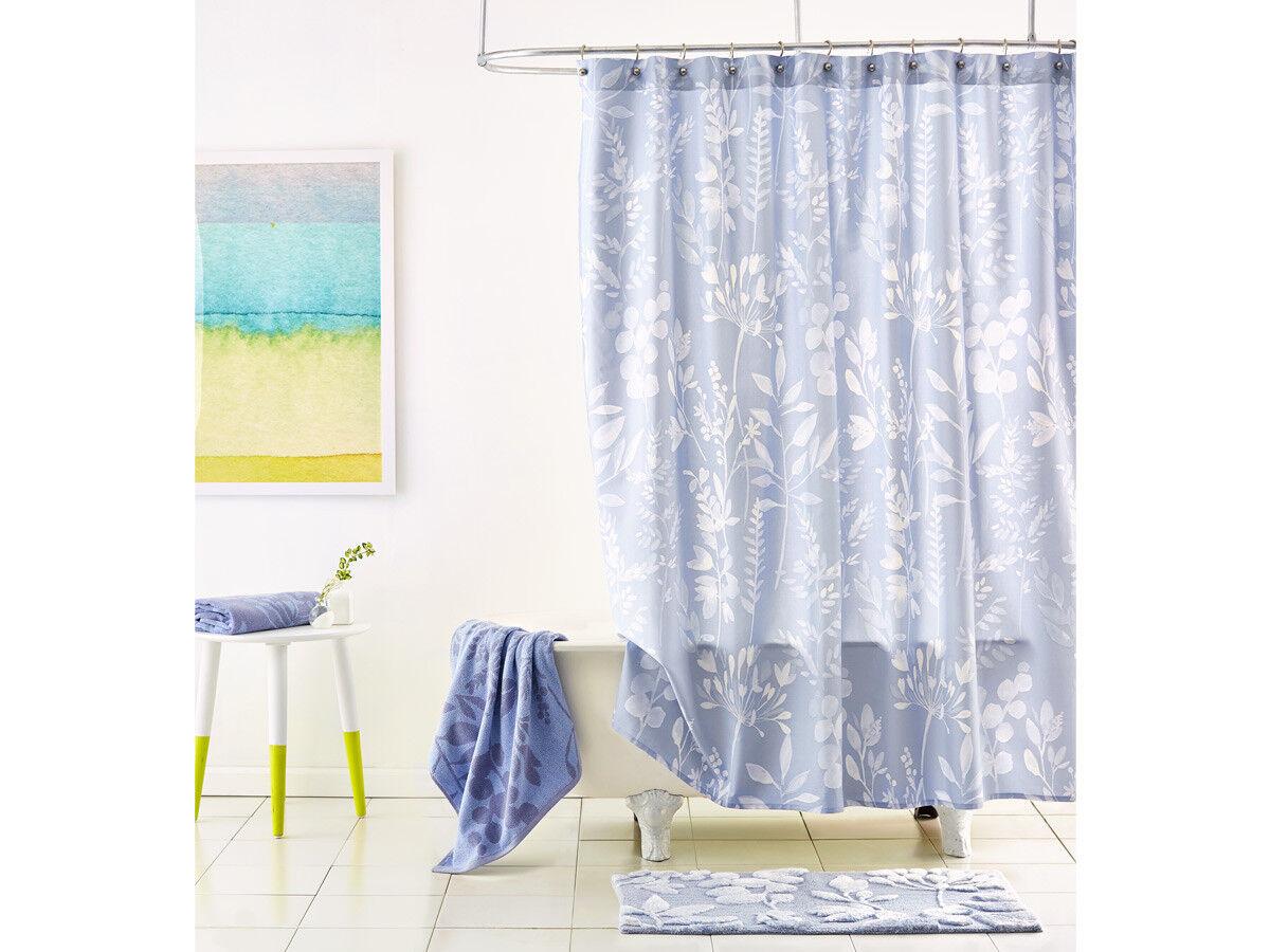 Blaubellgrau Fleur Fabric Shower Curtain Blau Floral Modern Shabby Chic Bathroom Afcf7f