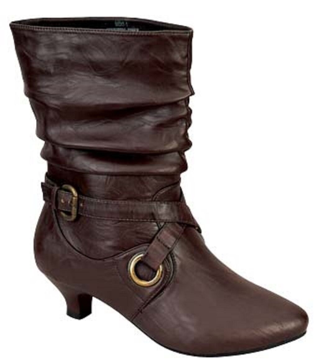 Women's Brown Leatherette Almond Toe Kitten Heel Pull On Ankle Booties