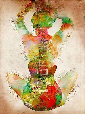 Pub Music Guitar Vintage Art Women Custom Print Poster 12x18 24x36in C258