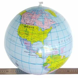 30Cm Inflatable Globe Atlas World Map Earth Beach Ball Geography Blow Up Toy