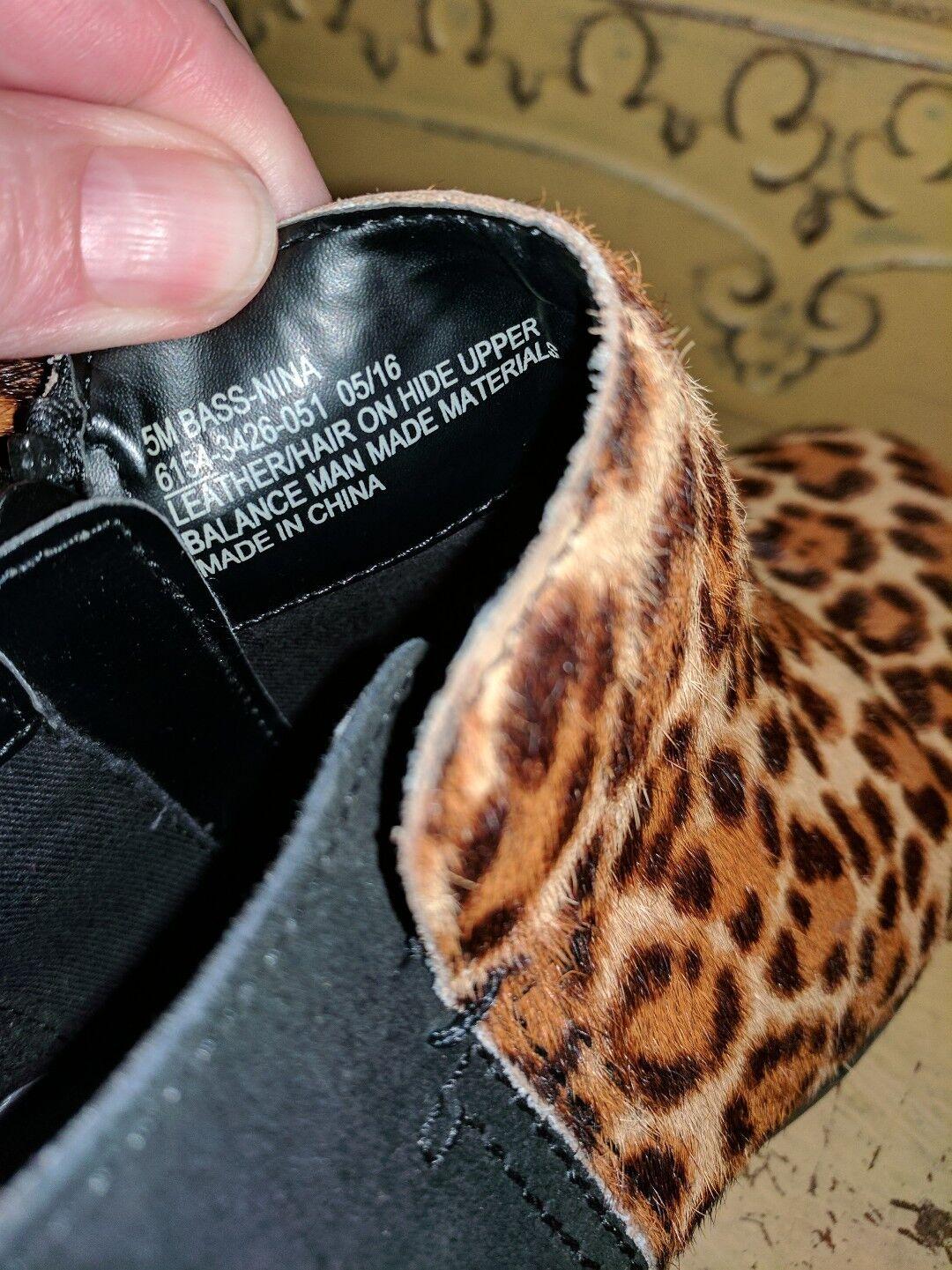 BASS NINA CALF HAIR FUR LADIES LEOPARD ANKLE Stiefel LADIES FUR 5 M BLACK SUEDE ANIMAL PRINT 483ac4