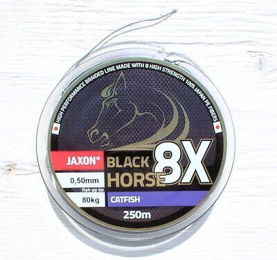 0,089€//m Geflochtene Schnur JAXON BLACK HORSE Premium 50m Angelschnur 8-fach