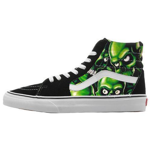 Supreme x Vans Skull Pile Sk8-Hi Sz 8 Black Green Glow in the dark SS18 Week 2