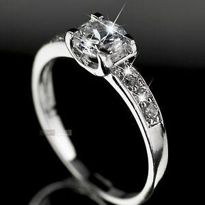18K-White-Gold-Plated-1-0carat-women-039-s-wedding-Ring-Simulated-Diamond
