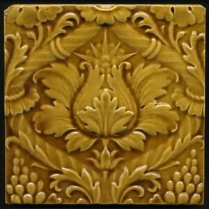 TH2959 Mintons Majolica Floral Arts amp Crafts Classical Old Gold Tile c1895 - Tile Heaven, United Kingdom - TH2959 Mintons Majolica Floral Arts amp Crafts Classical Old Gold Tile c1895 - Tile Heaven, United Kingdom