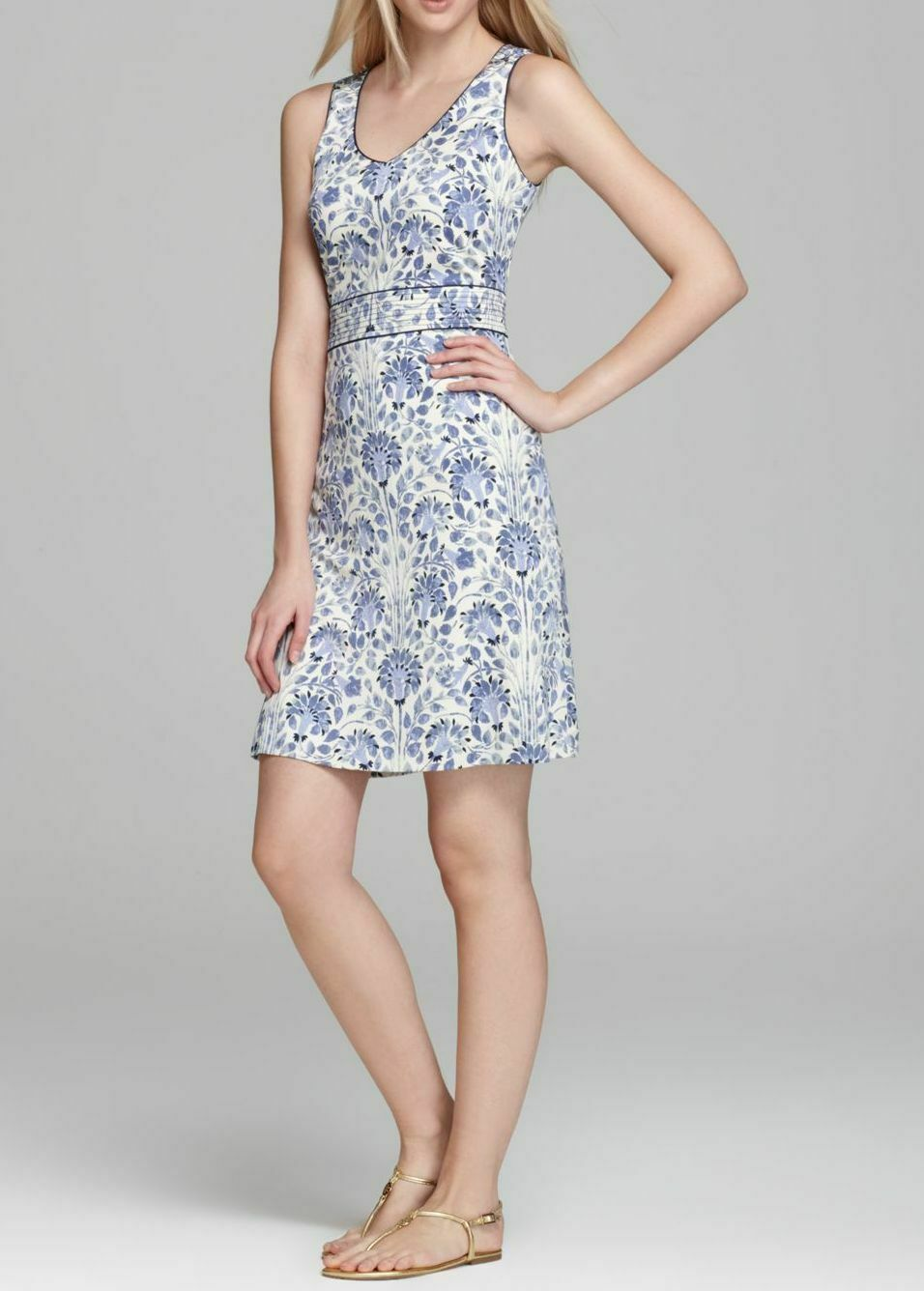 TORY BURCH damen 'GENE' Blau FLORAL SILK JERSEY A-LINE DRESS -MEDIUM UK 12-