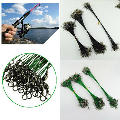 10Pcs Fishing Trace Lure Leader Stainless Steel Wire Spinner Fish Swivel Snap