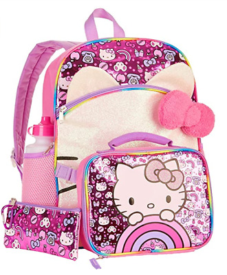 Hello Kitty 5 Pc Sparkle Backpack Set W Insulated Lunchbox Zip Case Water Bottle