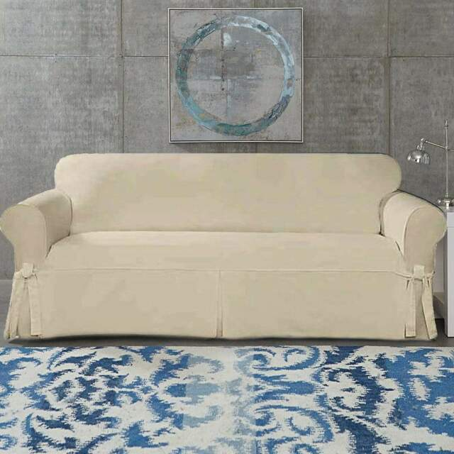 Taupe Individual Cushion Sofa Slipcover