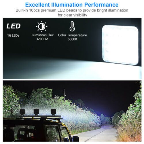 6X 48W Flood Beam LED Work Light Offroad DRL Boat Truck SUV ATV For Jeep US SHIP