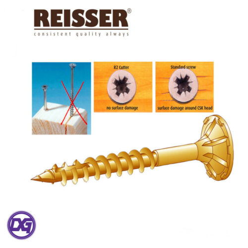 4.5,5,6mm REISSER CUTTER WOOD SCREWS TORXFAST PROFESSIONAL SPIRAL SHANK 3.5,4