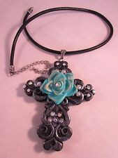 """Resin Black Pearl and Rhinestone Cross & Turquoise Rose Pendant Necklace 22"""""""