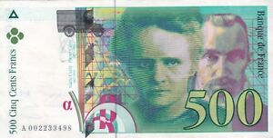 Francia-500-Francs-1994-Marie-amp-Curie-Del-Pierre-VF