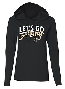 Let-039-s-Go-Army-Hoodie-T-Shirt-Long-Sleeve-Womens-SZ-M-L-Pullover-Black-Knights