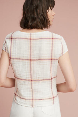 Anthropologie Plaid Tie-Front Blouse Top NWT LARGE new size L