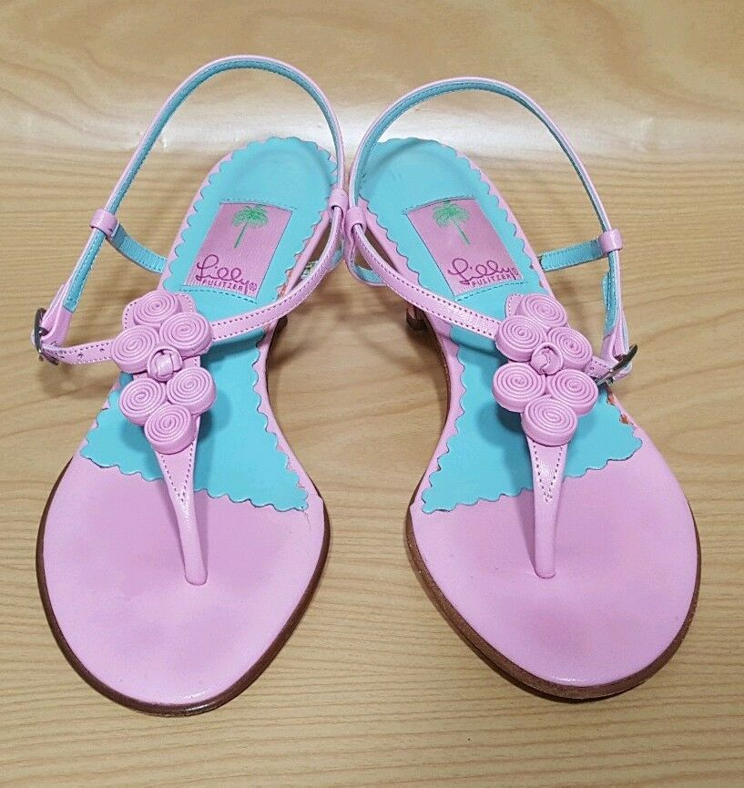 Lilly Pulitzer Made in    Kitten Heels Ankle Strap Pink Sandals shoes 7.5 d590a1
