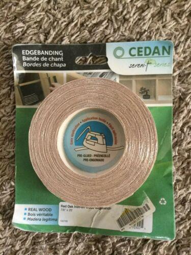"Cedan Red Oak Iron-On Melamine Wood Edgebanding 7//8/"" X 25 ft 10070S"