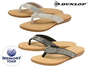 da44ee90f654 Ladies Summer Flip Flops Diamante Memory Foam Holiday Beach Toe Post ...