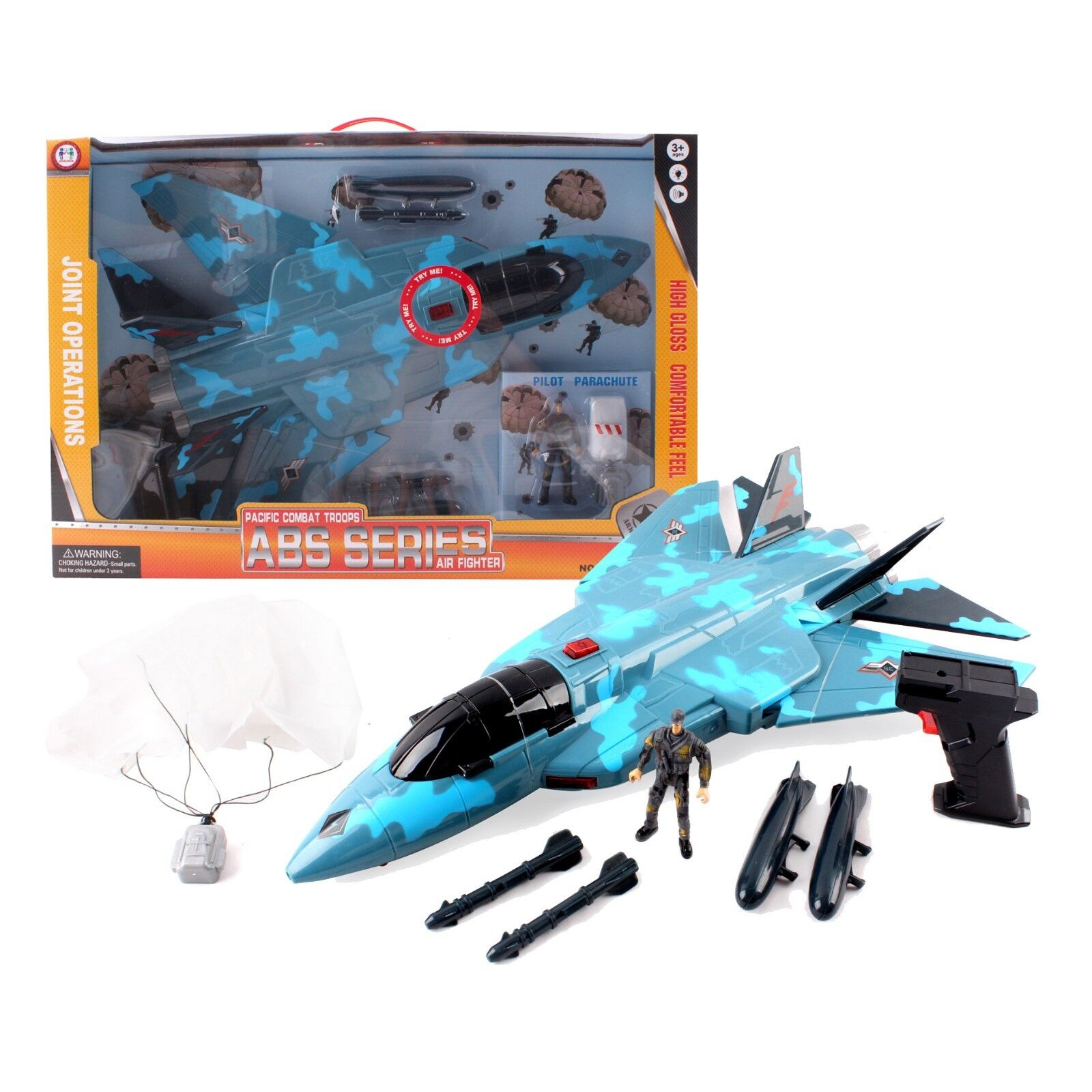 bluee Camouflage Fighter Jet Plane Bomber with Military Action Soldier Kids Toy