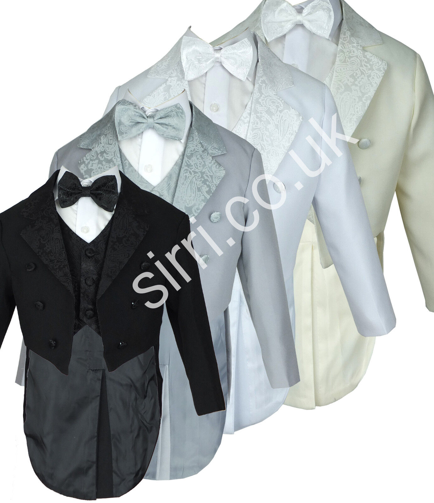 Baby Boys 5 Piece Tuxedo Style Tailcoat Suit Page Boy